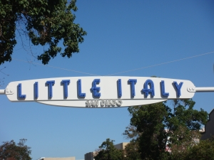 Little Italy sign in San Diego California