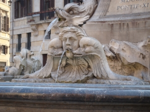 Fountain in the Piazza della Rotunda in front of the Pantheon in Rome