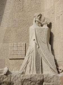 Passion Facade of Sagrada Familia in Barcelona