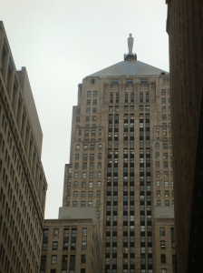 Ceres crowns the Board of Trade Building in Chicago