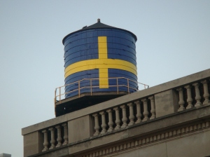 Andersonville Water Tower with the Swedish Flag