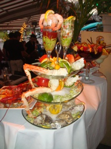 Food Display at outdoor restaruant in South Beach