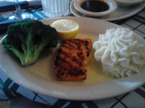 Salmon with mash potatoes and broccoli at Gibson's on Rush Street