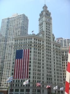 Patriotic Wrigley Building in Chicago