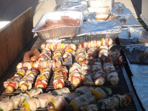 Bacon wrapped Shish Kabob at Edge Fest 2012