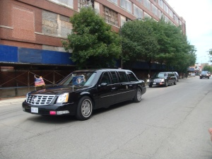 President Obama on the way to a Fund-Raiser on 35th Street