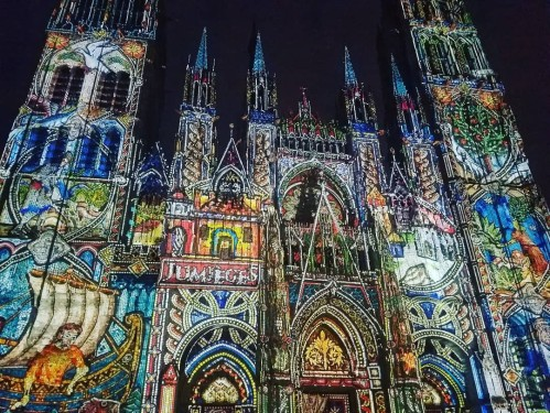 Image result for incredible light show projected onto the imposing facade of the Cathedral rouen