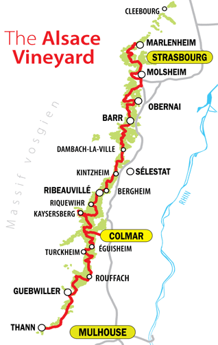 Overview and Map of Alsace Wine Route Villages | Travel and ...