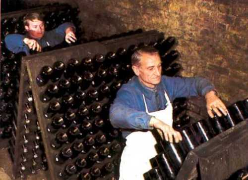 Image result for the dead yeasts (known as lees) must be removed via remuage, or riddling,
